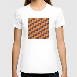 Browns Hues Geometric Marquetry Pattern T-shirt