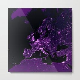 Earth Night Lit Up : Purple Metal Print