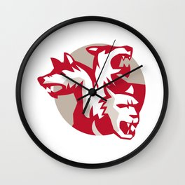 Cerberus Multi-headed Dog Circle Retro Wall Clock