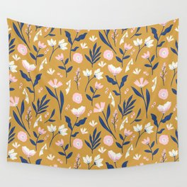 Mustard Floral Pattern Wall Tapestry