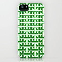 Green and White Greek Key Pattern iPhone Case
