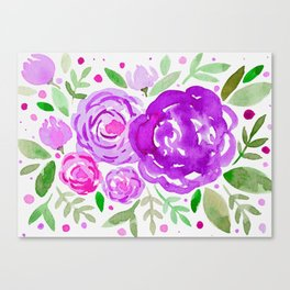 Watercolor roses bouquet - ultra violet and green Canvas Print
