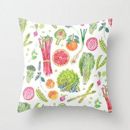 Spring Harvest Pattern White Throw Pillow