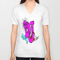 dj V-neck T-shirts featuring DJ by Christa Bethune Smith