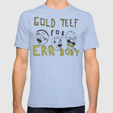 Gold Teef for Errbody MEDIUM Tri-Blue Mens Fitted Tee