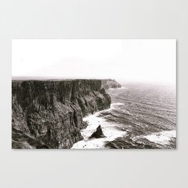 Cliffs of Mohr Ireland Black And White Canvas Print