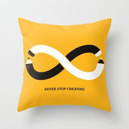 Never stop creating (the infinity pencil) Throw Pillow