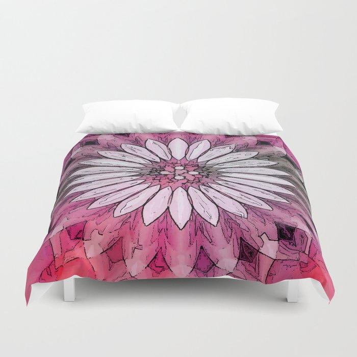 Poly Pink Daisy Kaleidoscope Duvet Cover