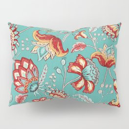 Red Indian Floral in Teal Pillow Sham