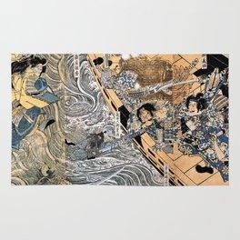 Kuniyoshi Utagawa, The ghost of Taira Tomomori, Daimotsu bay Rug