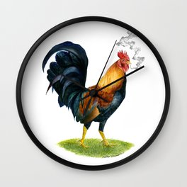 Smoking Rooster Wall Clock