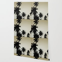 Tropical palm trees on yellow Wallpaper
