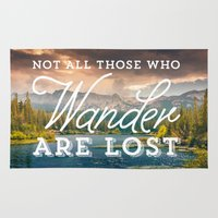 not all who wander Area & Throw Rugs featuring Not All Those Who Wander Are Lost by Crafty Lemon