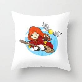 HP - Snitch Catcher - Ginger girl Throw Pillow