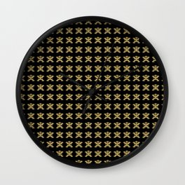 Replica of Pre-Columbian Pectoral Pattern in Gold Leaf on Black Wall Clock