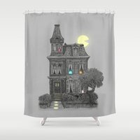 time Shower Curtains featuring Haunted by the 80's by Terry Fan