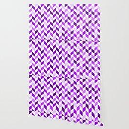 Purple and White Herringbone Pattern Wallpaper