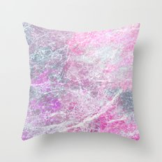 Pink Grey Marble Throw Pillow