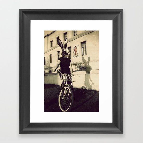 Bunny on Bicycle Framed Art Print