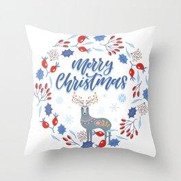 Merry Christmas Scandinavian Deer and Floral Wreath Throw Pillow