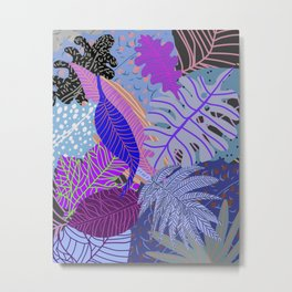Ultraviolet Faded Nature Leaves Metal Print
