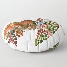 Sea Turtle, Brown, Olive green Pink Shades Floor Pillow
