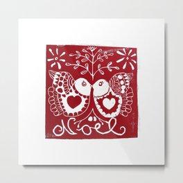 Christmas Lovebirds Metal Print