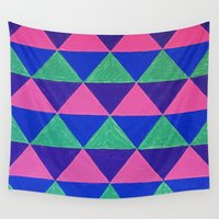 triangles Wall Tapestries featuring Triangles by Marjolein