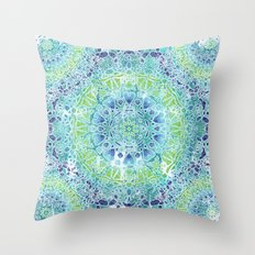 Blue Greenery Tie-Dye Mandala Throw Pillow