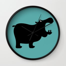 Angry Animals - Hippo Wall Clock