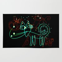 kittens Area & Throw Rugs featuring NEON KITTENS by Vanja Cankovic