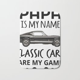 Vintage Retro Old Boys Truck Lovers T Shirt GiftPapa Is My Name Classic Cars Are My Game Men Women Bath Mat