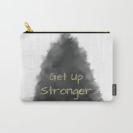 Get Up Stronger (gold on charcoal) Carry-All Pouch