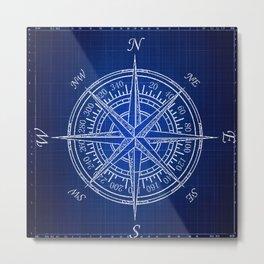 Nautical Compass, Blue Print, Patent Art, Beach Art, Coastal Art  Metal Print