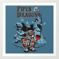 dungeons and dragons Art Prints featuring PIPES & DRAGONS by Adams Pinto