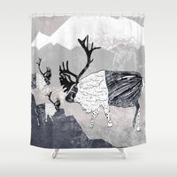 nordic Shower Curtains featuring Nordic Reindeer by Pencil Studio