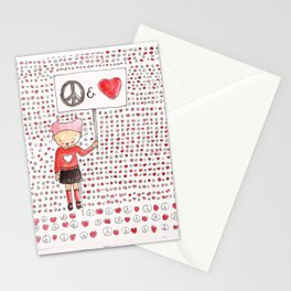 Peace and Love Stationery Cards