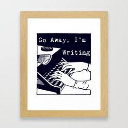 Go Away, I'm Writing (Navy) Framed Art Print