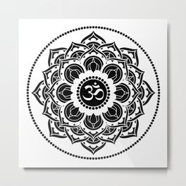 Black and White Mandala | Flower Mandhala Metal Print