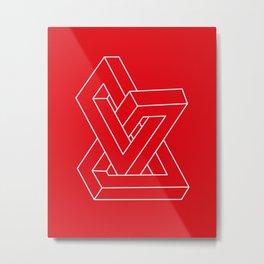Optical illusion - Impossible figure Metal Print