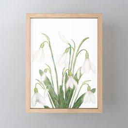 white snowdrop flower watercolor Framed Mini Art Print