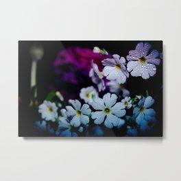 Rainy White Flowers Metal Print