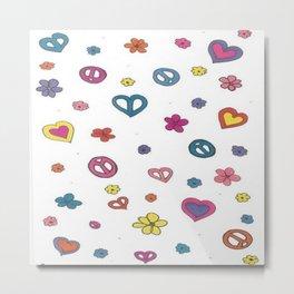 Peace Love Flowers Metal Print