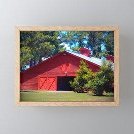 Red Barn And Green Trees Framed Mini Art Print