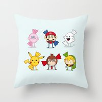nintendo Throw Pillows featuring Nintendo Treats by Nabhan Abdullatif