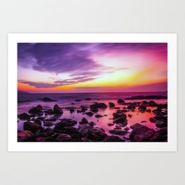 PURPLE SEASCAPE SUNSET Art Print