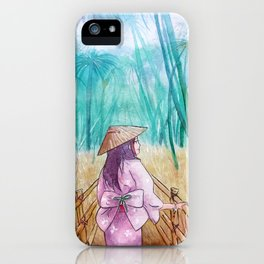 Japanese bamboo forest watercolor painting iPhone Case