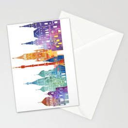 Moscow landmarks watercolor poster Stationery Cards