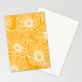 Saffron Yellow Poppies Stationery Cards