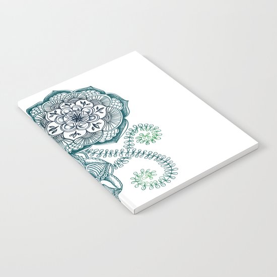 Teal Floral Doodle Notebook